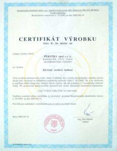 Závěsný ocelový balkon certifikát