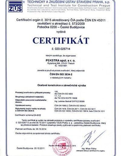 Certifikát procesu svařování